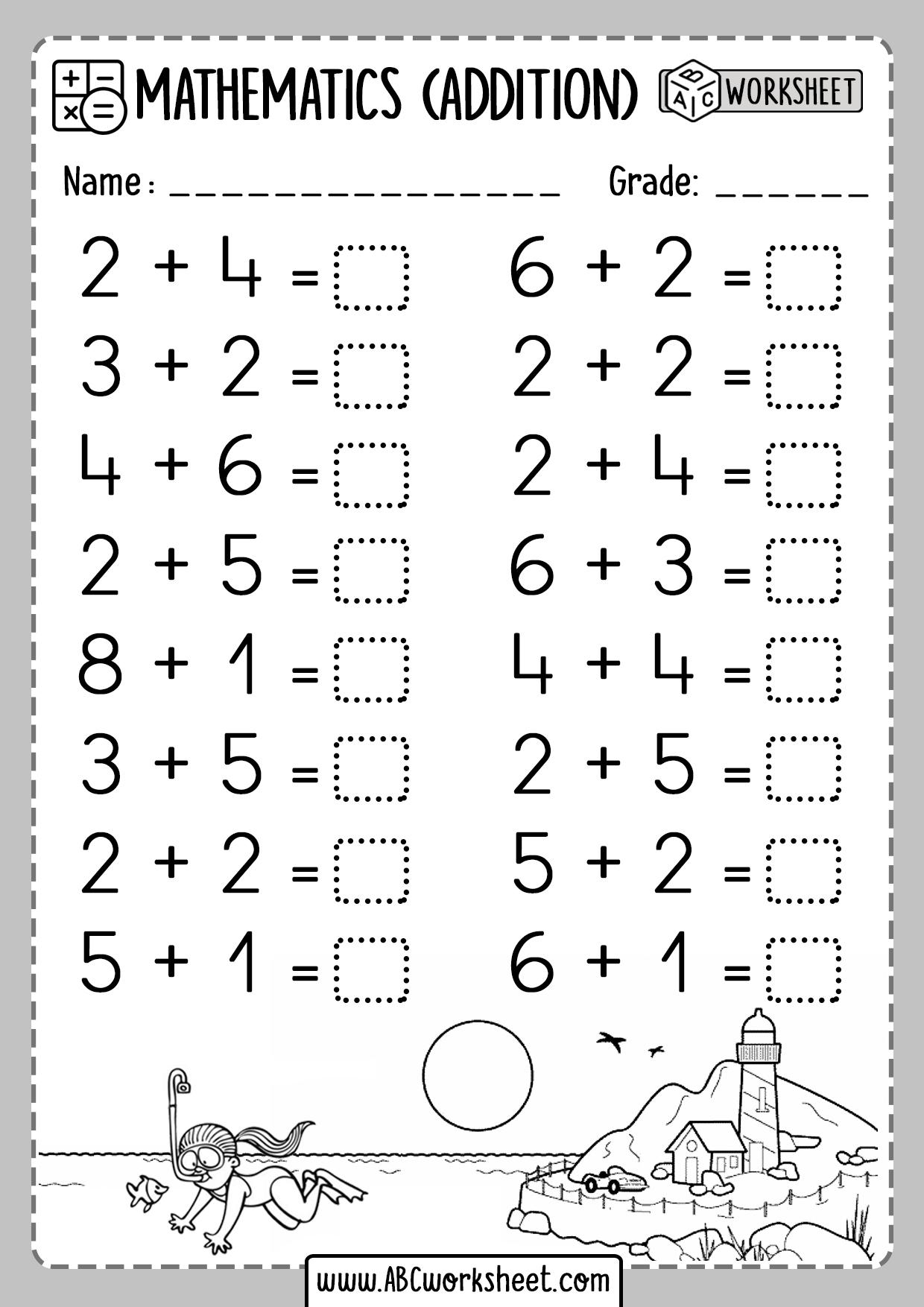 Kindergarten Addition Worksheets 1 Digit - ABC Worksheet