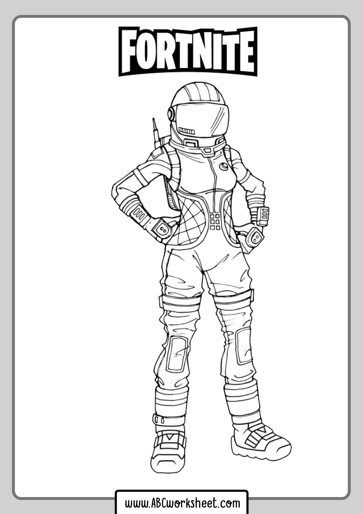 Girl Skin Fortnite Coloring Page - ABC Worksheet