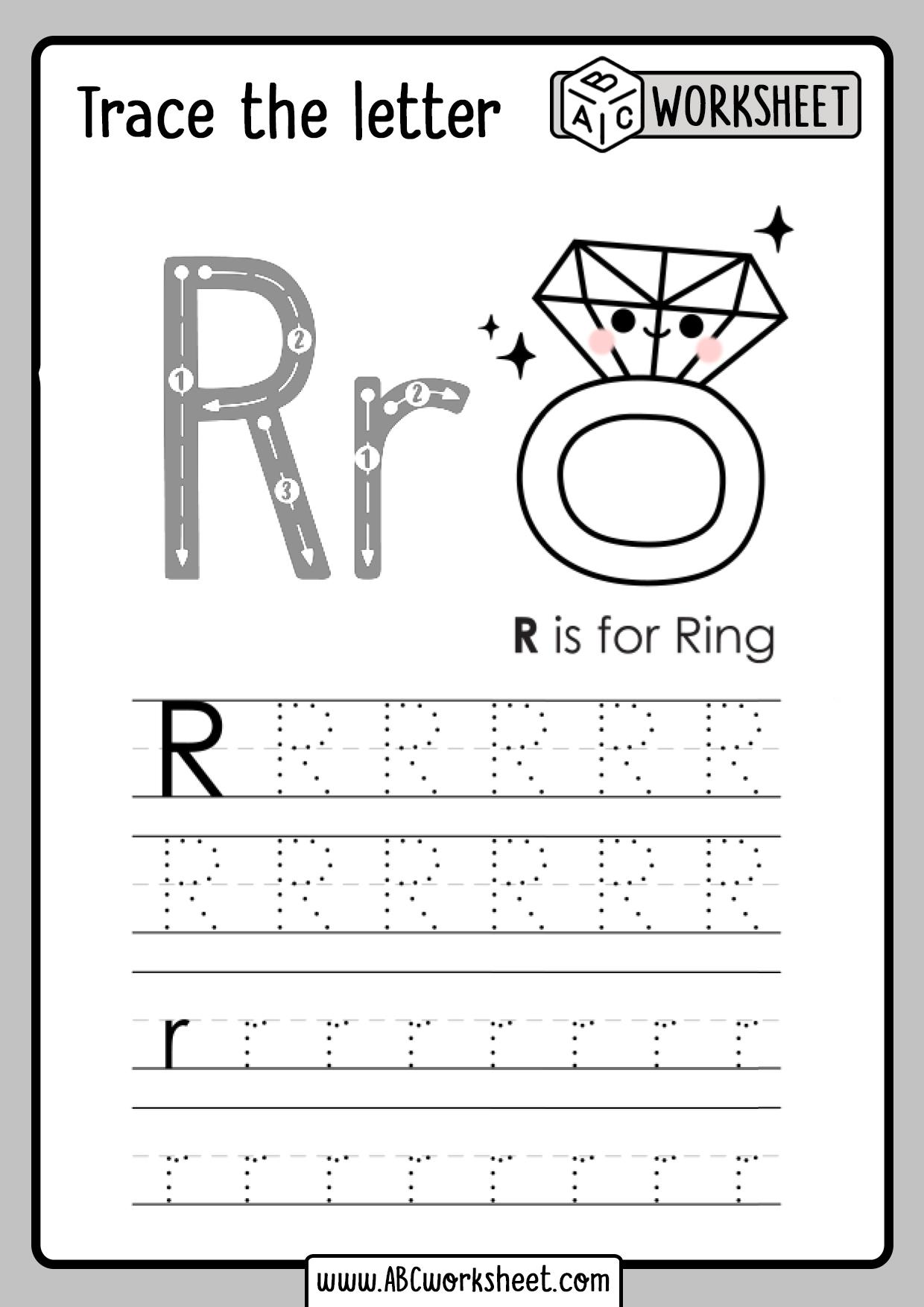 Letter R Tracing Worksheet   ABC Worksheet