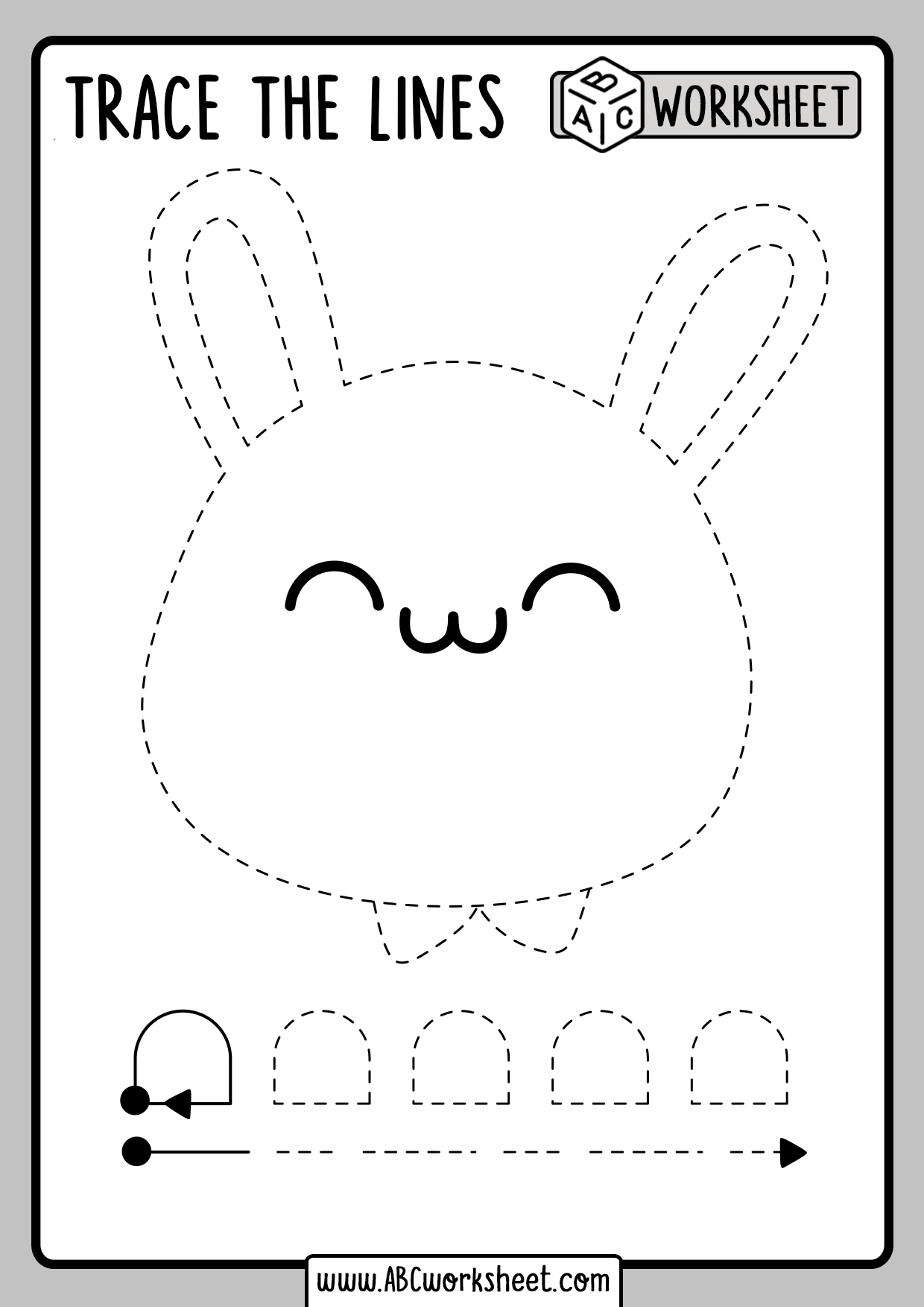Tracing for 3 Years old - ABC Worksheet