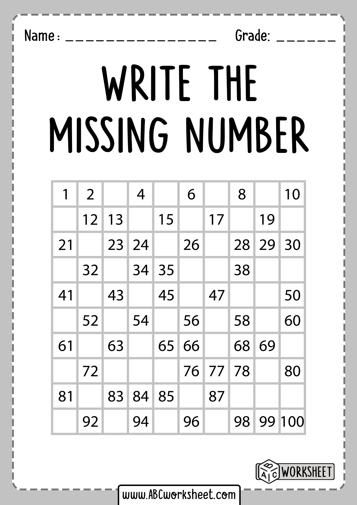 Write the Missing Number Worksheets